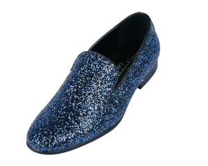 Blue Sparkle Loafer Shoes-The Shoe Square