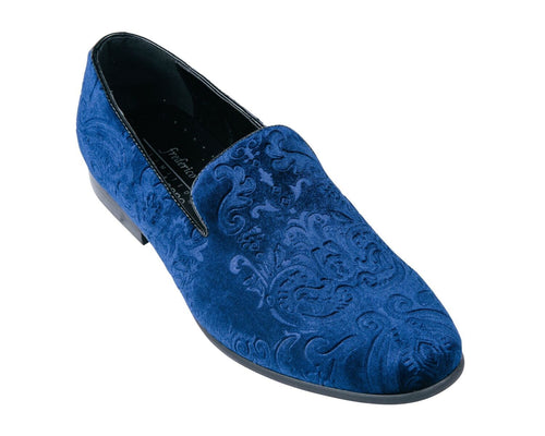 Blue Jacquard Print Velvet Loafer Shoes-The Shoe Square