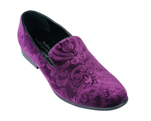 Purple Jacquard Print Velvet Loafer Shoes-The Shoe Square