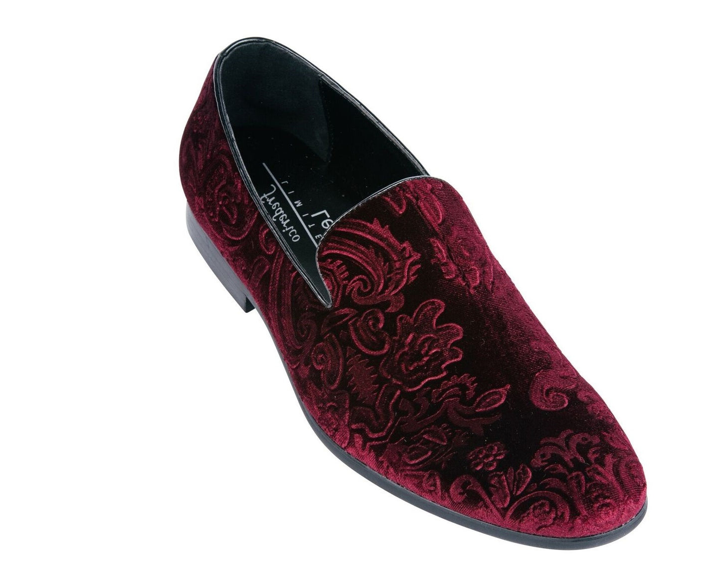 Red Jacquard Print Velvet Loafer Shoes-The Shoe Square