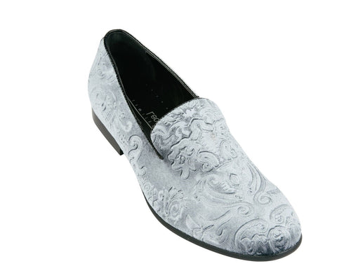 Silver Jacquard Print Velvet Loafer Shoes-The Shoe Square
