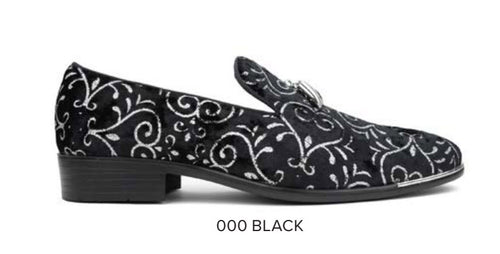Black/Silver Sparkle Loafer with Tassels