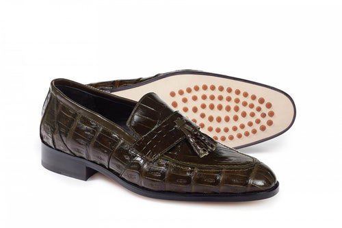 Bramante Baby Crocodile / Alligator Shoe in Olive  -  Style #4839