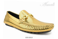Load image into Gallery viewer, Gold Metallic Driver with Metal Bit Moccasin Shoe