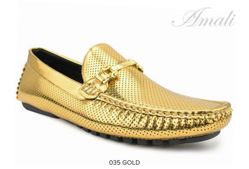 Gold Metallic Driver with Metal Bit Moccasin Shoe