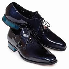 Mantegna Patent Leather Canapa in Blue Shoe -  Style #4801