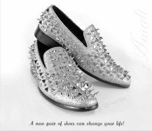 Metallic Silver Glitter Slip On with Embellished Spike Stud Detail