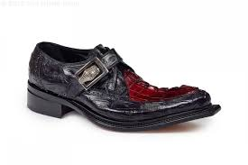 Michelangelo Baby Crocodile Black Hornback Tail in Burgundy Shoe -  Style #44225