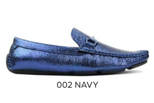Navy Metallic Driver with Metal Bit Moccasin Shoe