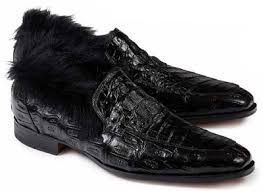 Romeo Baby Croc / Kangaroo Fur in Black Shoe -  Style #4615