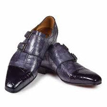 Load image into Gallery viewer, Traiano Hand Painted Alligator in Black / Medium Grey Shoe -  Style #1152