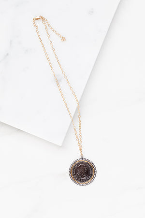 Find the perfect necklace you're looking for from Charme Silkiner! This beautiful 14K Gold Filled Chain Necklace with black stamped coin pendant and CZ pave accents is perfection. Great for layering or wearing alone the Easton Necklace is the perfect piece of unique jewelry that everyone should own.