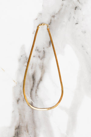 Find the perfect necklace you're looking for from Charme Silkiner! This beautiful 14K Gold Plated Herringbone Chain Necklace is perfection. Great for layering or wearing alone the Elysian Necklace is the perfect piece of unique jewelry that everyone should own.