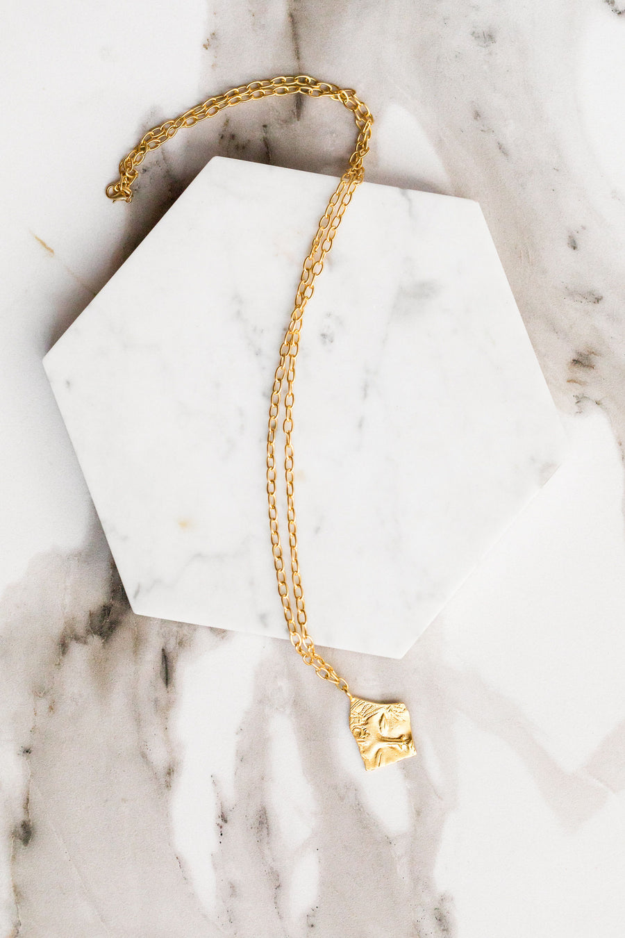 Find the perfect necklace you're looking for from Charme Silkiner! This beautiful 22K Gold Chain Necklace with Greek Sleeping Beauty Pendant is perfection. Great for layering or wearing alone the Paxton Necklace is the perfect piece of unique jewelry that everyone should own.