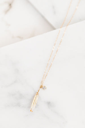Find the perfect necklace you're looking for from Charme Silkiner! This beautifully stunning 14K Gold Chain Necklace with a citrine spike and cz bezel is pure perfection. Great for layering or wearing alone the Sona Necklace is the perfect piece of unique jewelry that everyone should own.