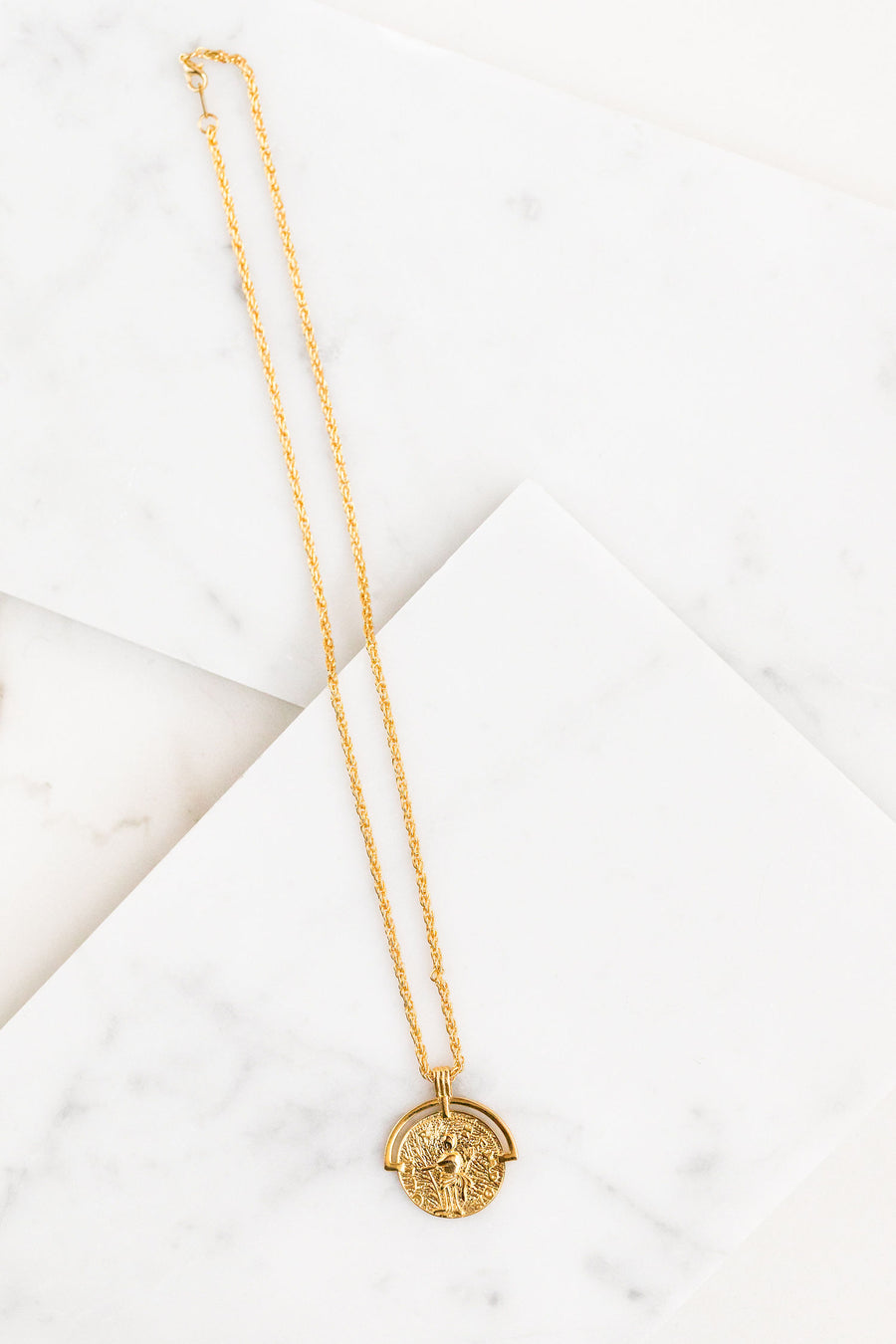 Find the perfect necklace you're looking for from Charme Silkiner! This beautiful 14K Gold Plated Necklace with a Greek Medallion is perfection. Great for layering or wearing alone everyday the Cassian Necklace is the perfect piece of unique jewelry that everyone should own.