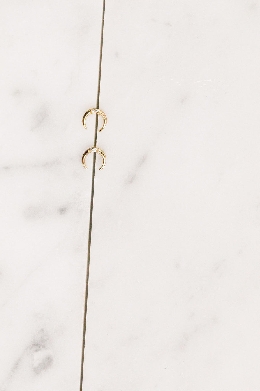 Find the perfect pair of earrings you're looking for from Charme Silkiner! These crescent stud earrings with CZ accents are seriously stunning. Perfect to dress or dress down any outfit the Tiny Taiga Earrings are the perfect must have for everyone!