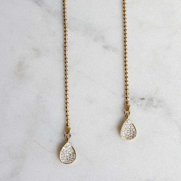 faceted gold chain necklace CZ drops