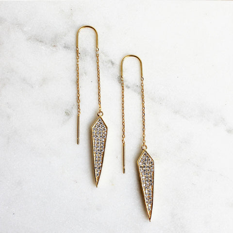 gold drop micro CZ thread earrings narrow kite