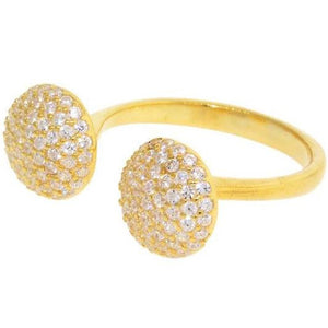 gold pave CZ 2 prong ring