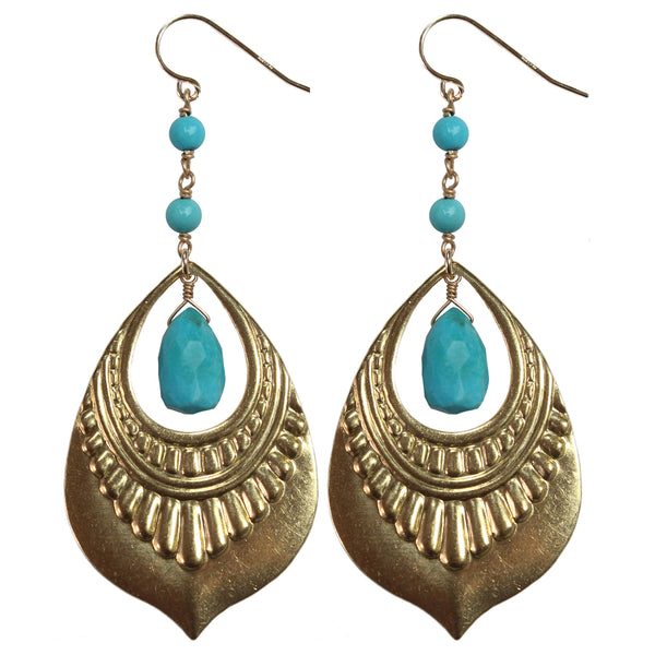 Raw brass turquoise open loop pendant drop earrings