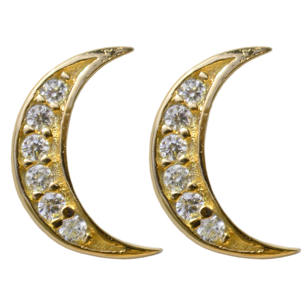 gold CZ crescent pavé studs earrings
