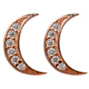 rose gold CZ crescent pavé studs earrings
