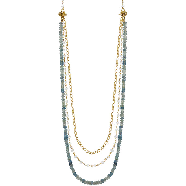 gold layered chain apatite rainbow moonstone necklace