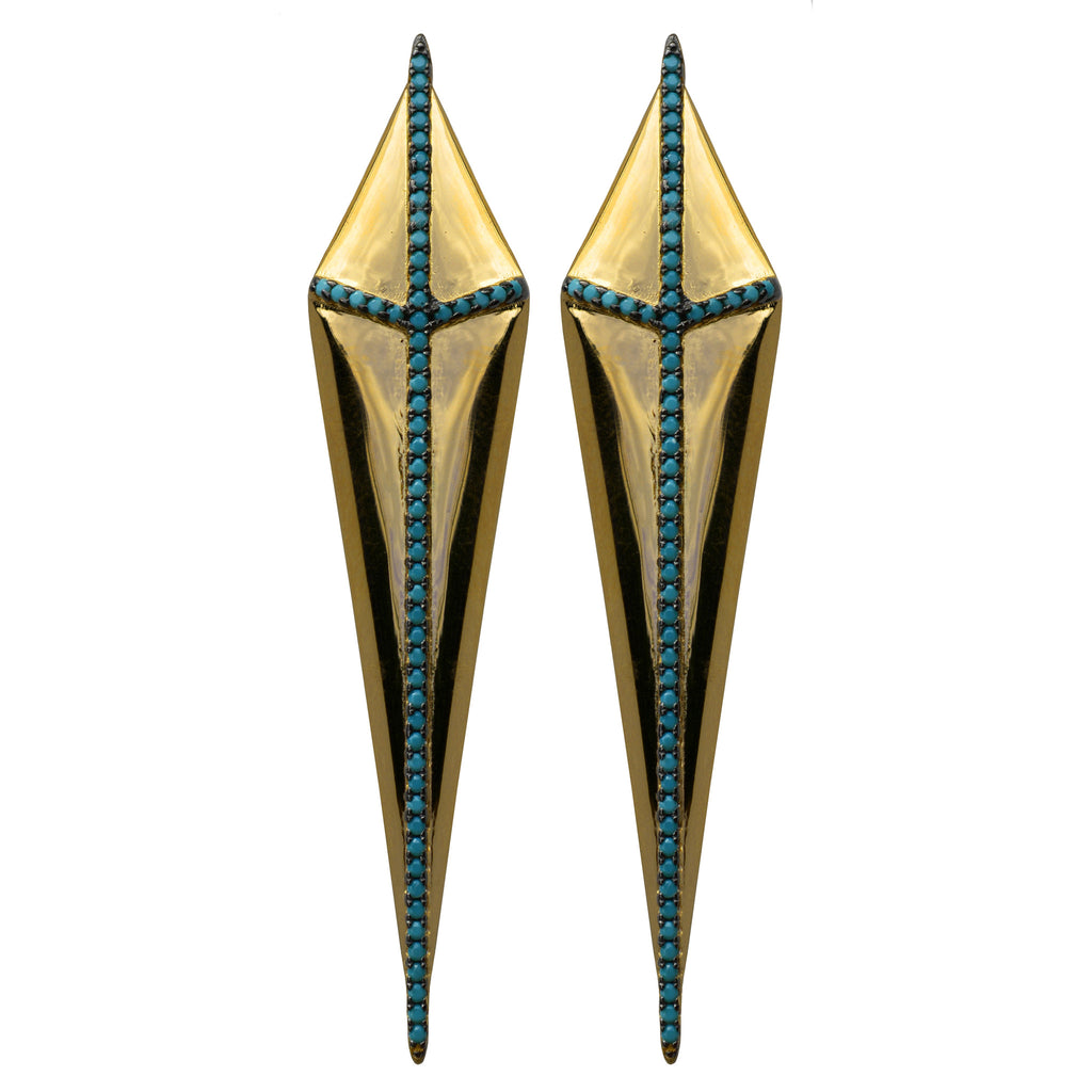 gold turquoise CZ pavé gladiator earrings spike kite
