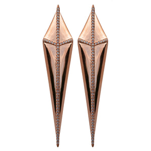 rose gold champagne CZ pavé gladiator earrings kite