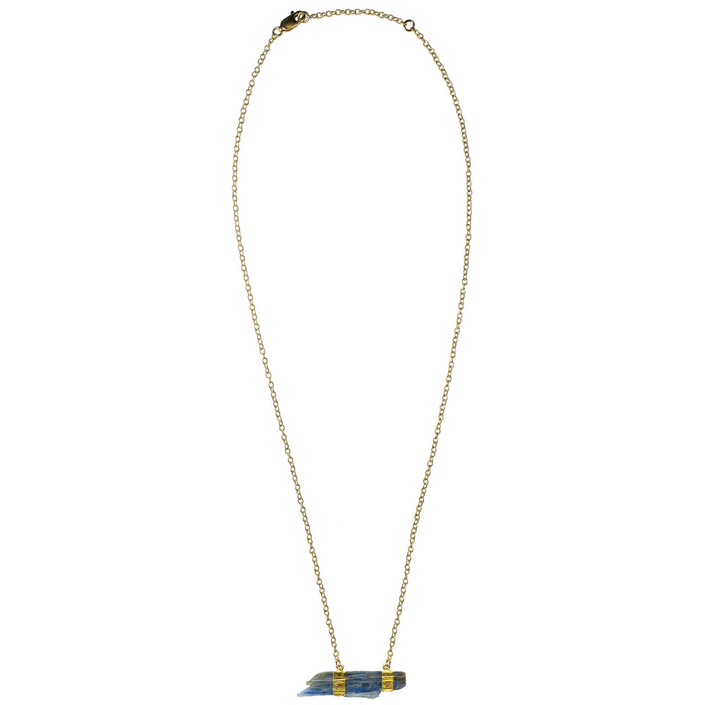 gold raw blue kyanite pendant necklace