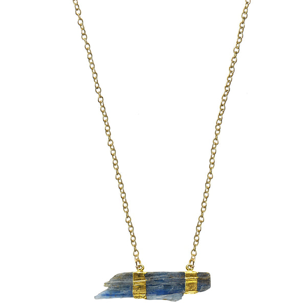 short gold raw blue kyanite pendant necklace