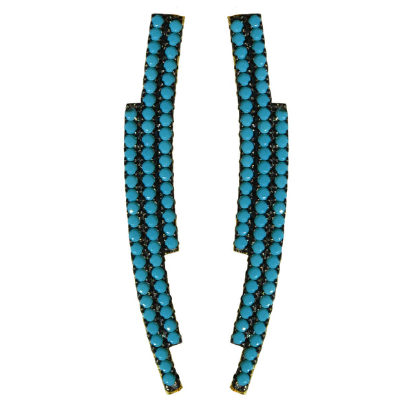 gold turquoise pave' CZ ear crawler earrings