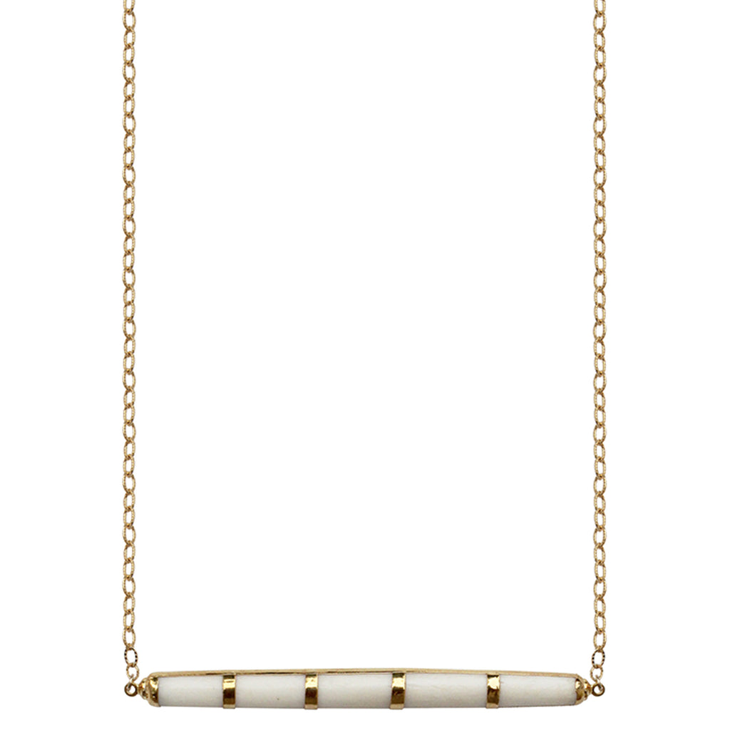 long gold chain white bone bar pendant necklace