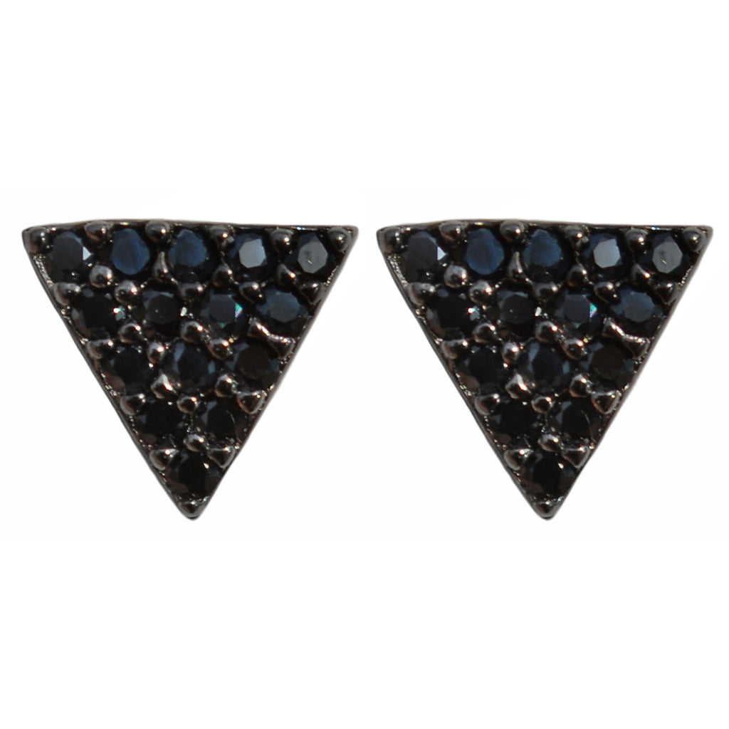black CZ pavé triangle studs post