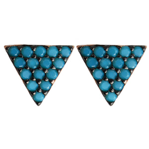 turquoise black CZ pavé triangle studs post earrings