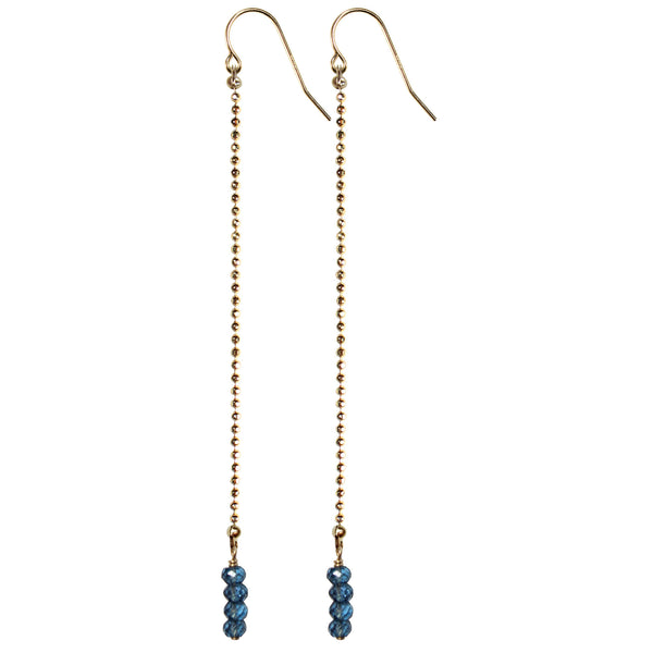 long gold drop semi precious london blue topaz earrings