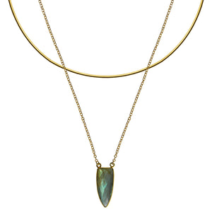 gold chain labradorite pendant choker necklace