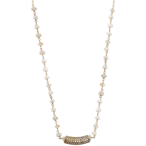 Gold white sapphire CZ micro pave' necklace