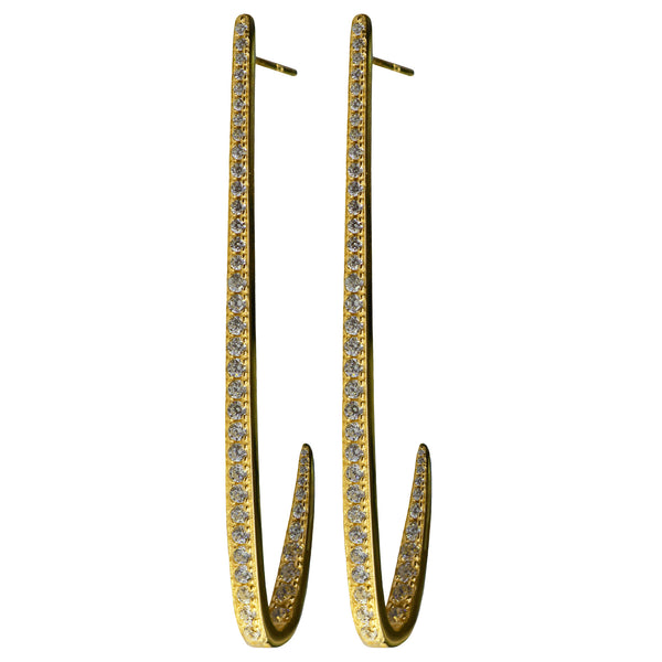 gold curve CZ pavé earrings