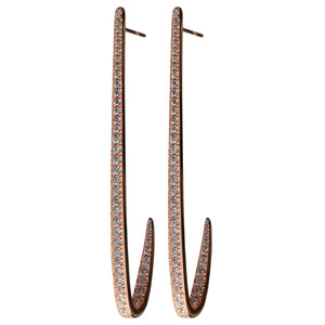 rose gold curve CZ pavé earrings