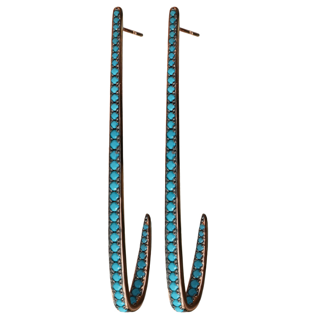 turquoise curve CZ pavé earrings