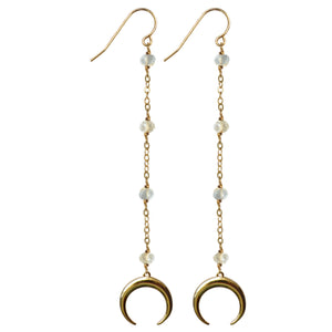 gold drop semi precious labradorite gold crescent horn earrings
