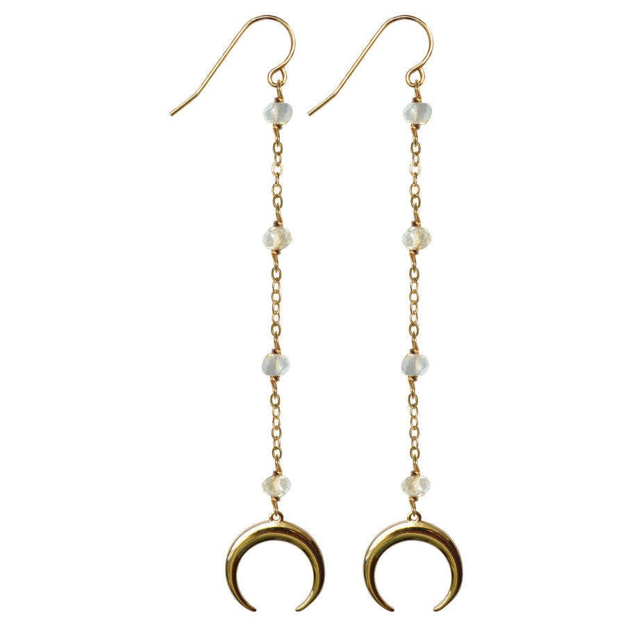 gold drop semi precious blue labradorite gold crescent horn earrings
