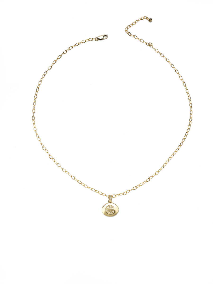 CZ Pavé Gold or Silver initial necklace