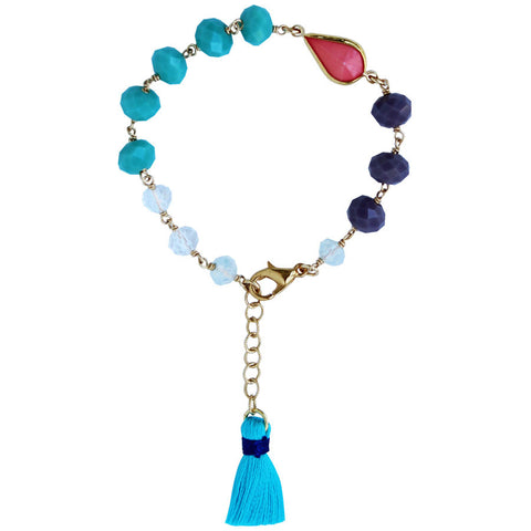 tassel with turquoise and coral beads, 14k gold filled. Turquoise, Coral