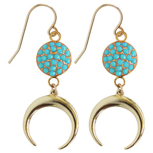 drop earrings with faceted disc gold crescent faceted Coral, Turquoise