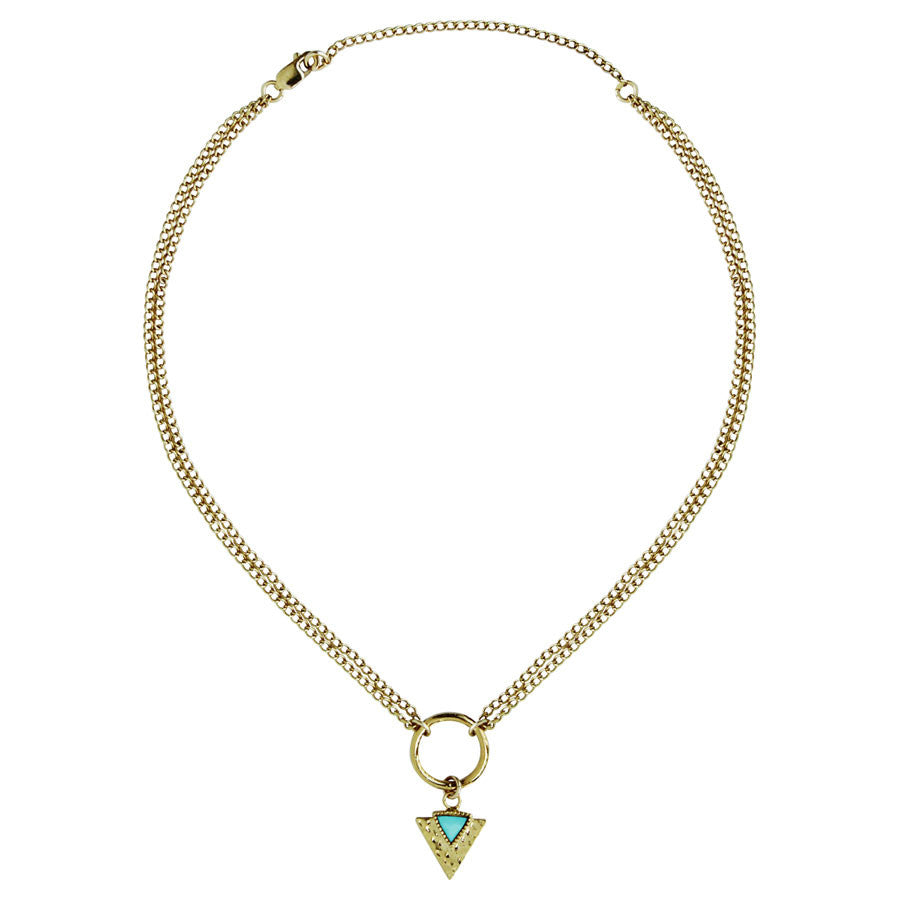choker, chain with triangle arrow,  Turquoise, White