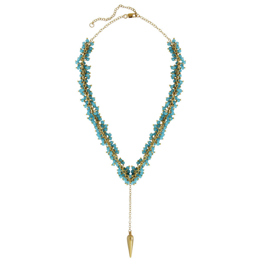 gold filled chain with tiny clustered stones, gold spike, Purple, Pearl, Aqua
