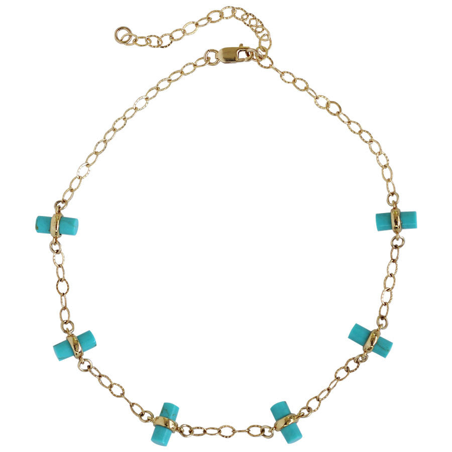 chain choker, gold, bar charms, turquoise, pink, 14k gold filled chain